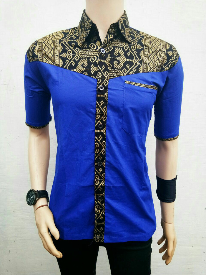 harga Kemeja batik biru keren | batik kombinasi modern Tokopedia.com