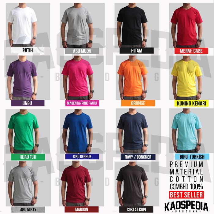 Kaos Polos 100% Cotton Combed 30S Bandung Size S, M, L