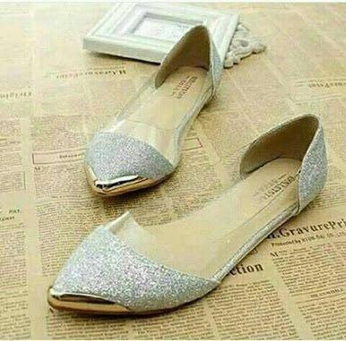 Flat shoes mika glitter dubai pasir silver fm01