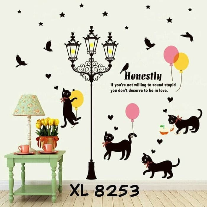 jual wallsticker wallstiker wall sticker stiker cat lampu dan kucing