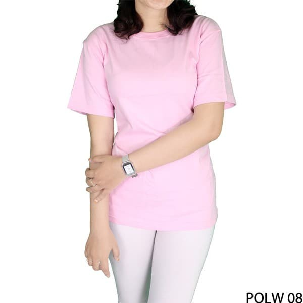 Kaos polos wanita o-neck lengan pendek polw 08 - merah muda…
