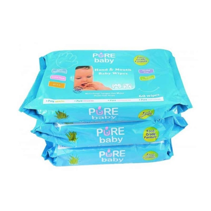 Pure Baby Hand & Mount Baby Wipes 60 's Combo - Aloe Vera Buy 2 Get 1 - Blanja.com