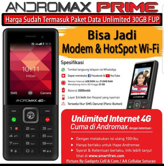 harga Smartfren andromax prime 4g lte whatsapp internet unlimited cashback Tokopedia.com