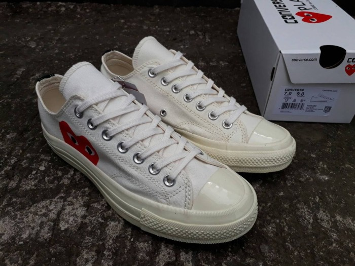 8064f7d99868 CONVERSE 70S LOW OFF WHITE OFF WHITE PLAY CDG COMME DES GARCONS SIZE 3 -  Putih