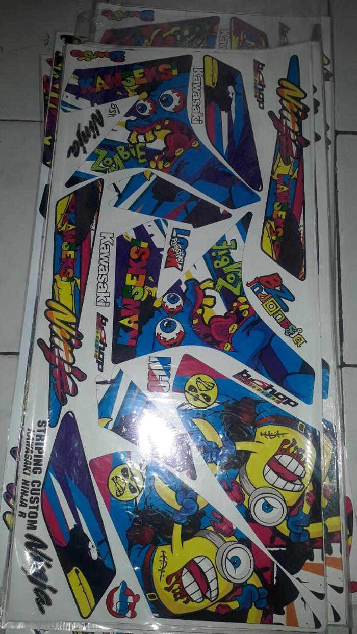 striping lis sticker variasi Ninja R minion zombie biru