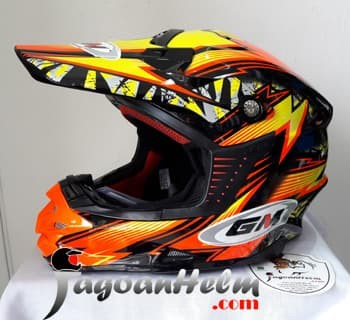 harga Gm helm flash motocross | black orange | cross moto trail Tokopedia.com