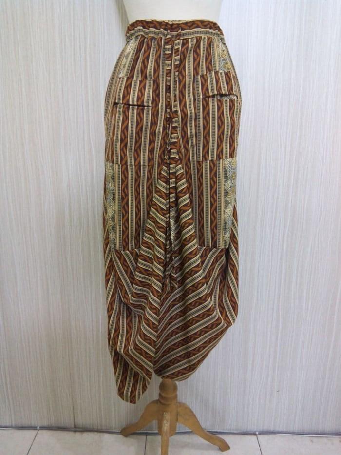 Celana Batik Modern Wanita Bawahan Wanita Celana Hareem Rr1714 Coklat