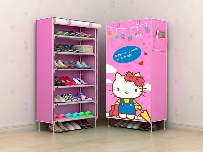 harga R06 new rak sepatu kain lemari sepatu 6 ruang hello kitty hk Tokopedia.com