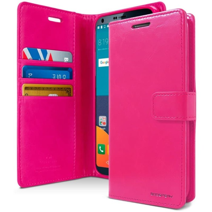 goospery lg g6 blue moon diary case - hotpink