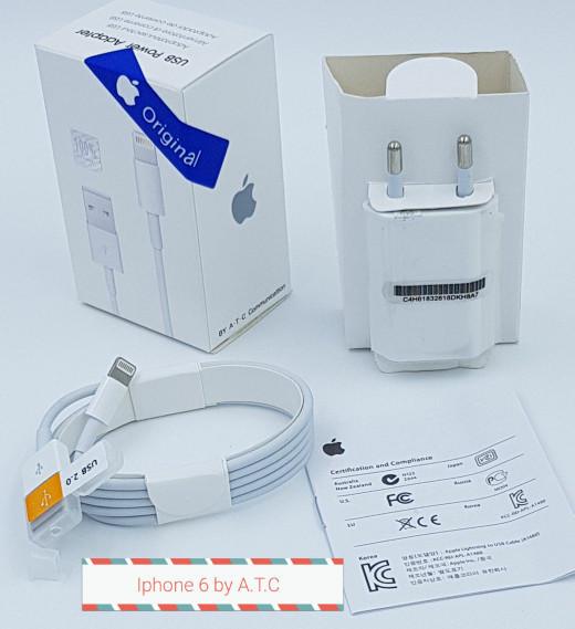 Foto Produk charger carger casan iphone 5 6 7 original 100% batok + kabel data dari original aksesoris murah