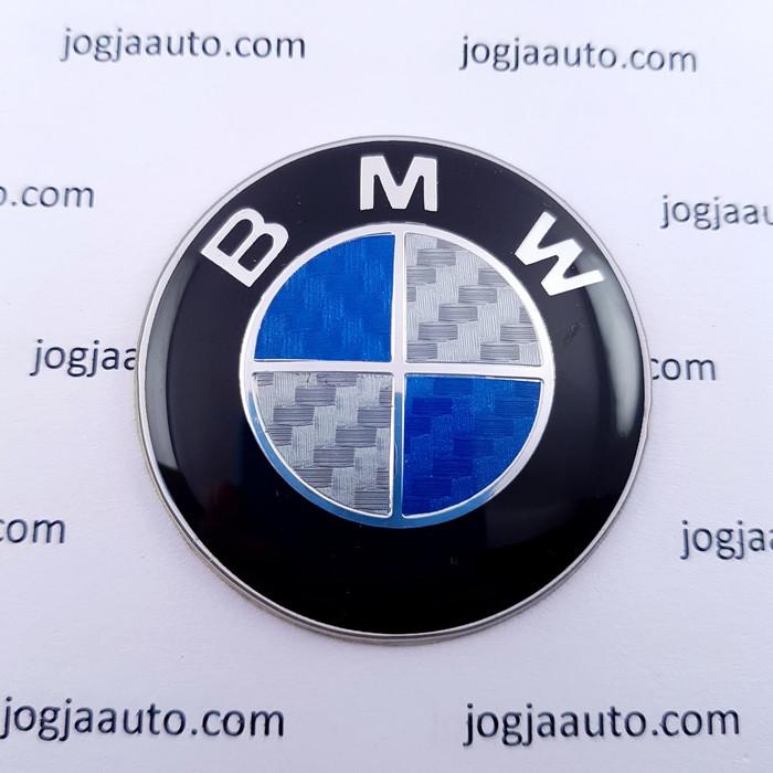 Foto Produk Emblem Stir BMW Biru Putih Carbon 45mm dari jogjaauto