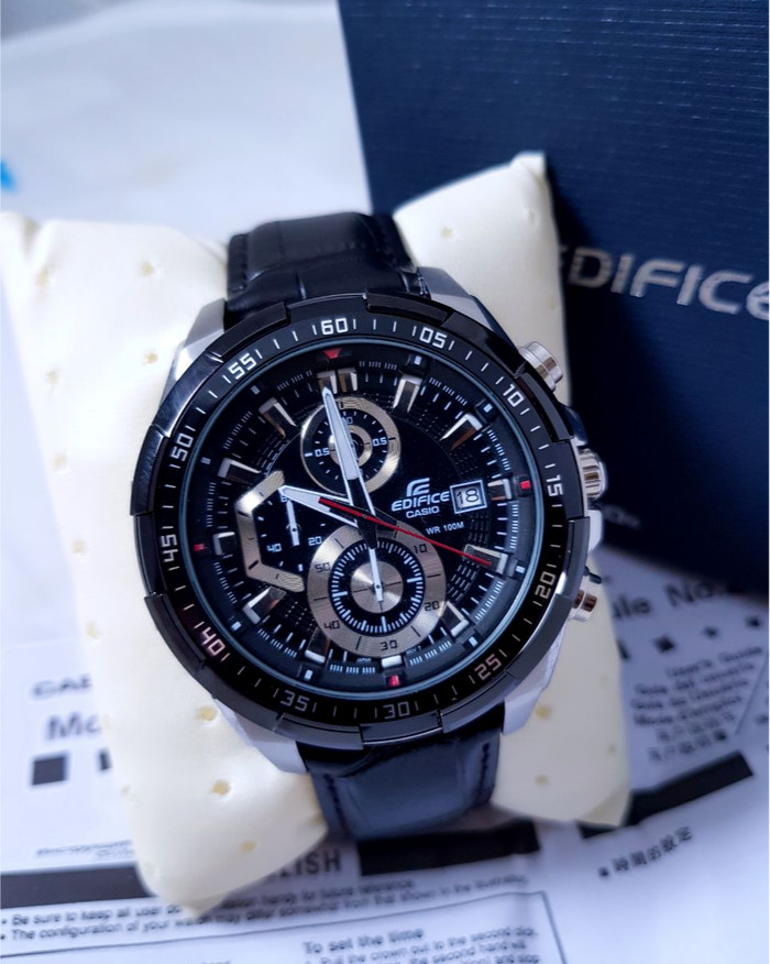 harga Jam tangan casio edifice efr 539l - 1av leather black (garansi 1tahun) Tokopedia.com