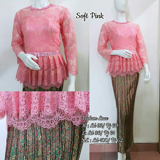 Jual kebaya modern Brokat peplum pink peach set - kebaya wisuda ... 48816565fa