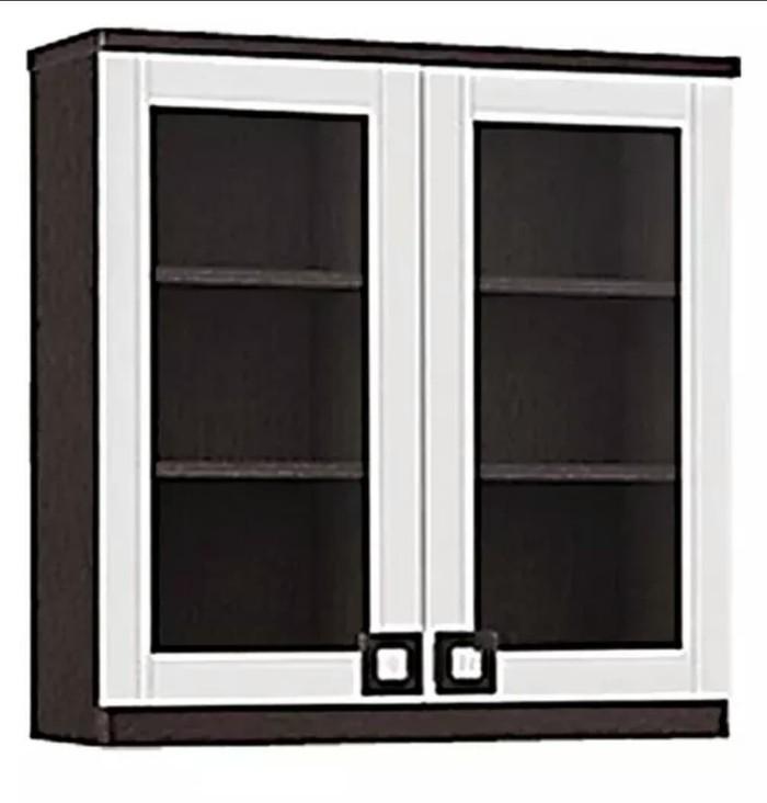 Lemari Dapur 2 Pintu Kaca Kitchen Set Atas Putih