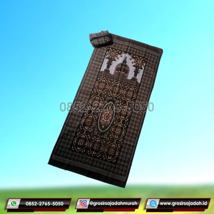Sajadah Simple Motif Masjid Coklat Hijau Muda Berkualitas