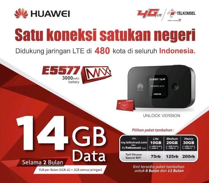 harga Mifi huawei 4g lte e5577 max 3000mah free tsel 14gb Tokopedia.com