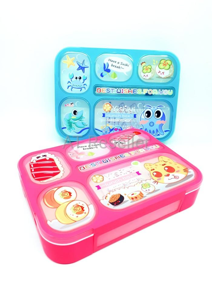 Kotak makan bpa free 6 sekat anti tumpah lunch box bekal yooyee