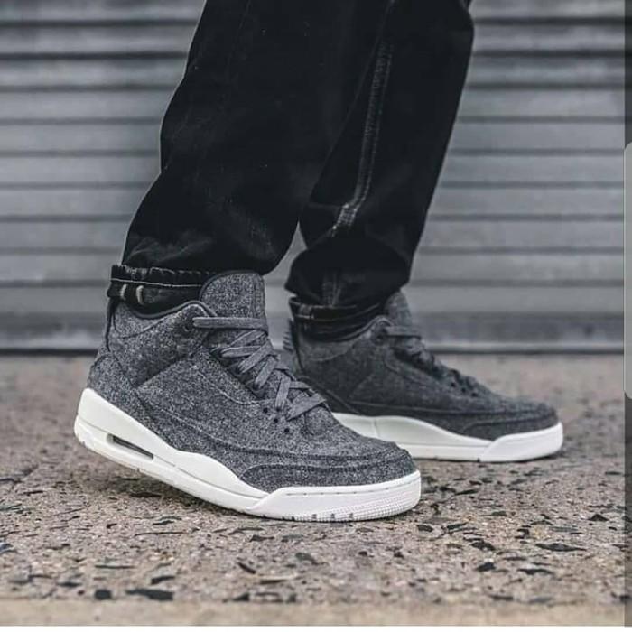 Sepatu sneakers nike air jordan retro 3 wool grey premium ori 39-45 57fd423fdc