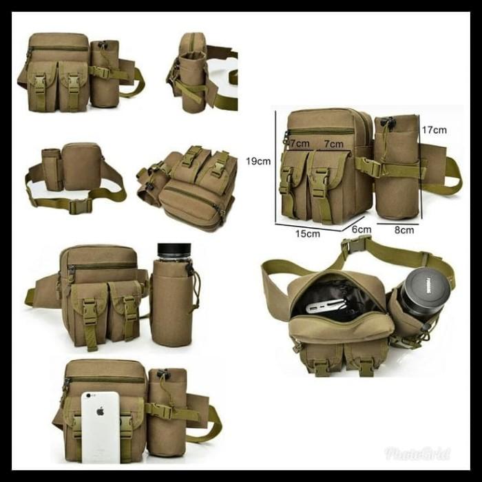 Tas Pinggang Tactical Army Dengan Tempat Botol - Khaki Hot!
