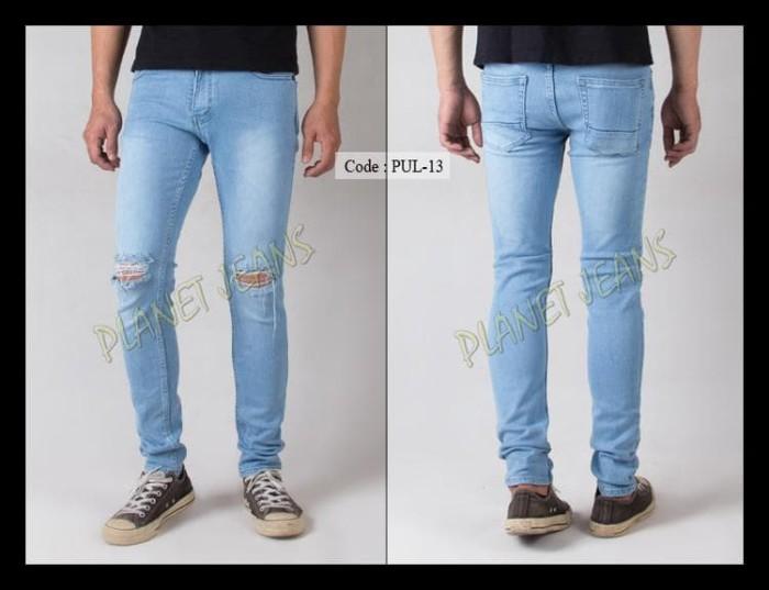 Celana Jeans Pria Ripped Sobek / Robek Lutut Model Skinny / Pensil