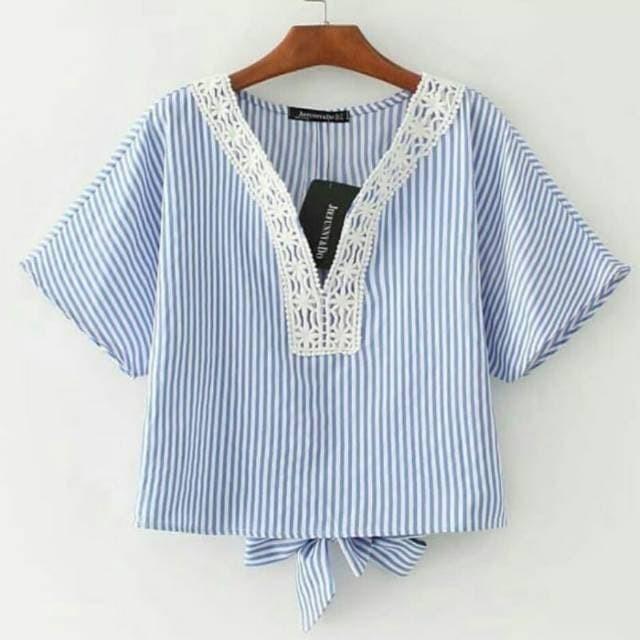 harga Blouse yovie stripe blouse salur wanita atasan wanita baju kaos wanita Tokopedia.com