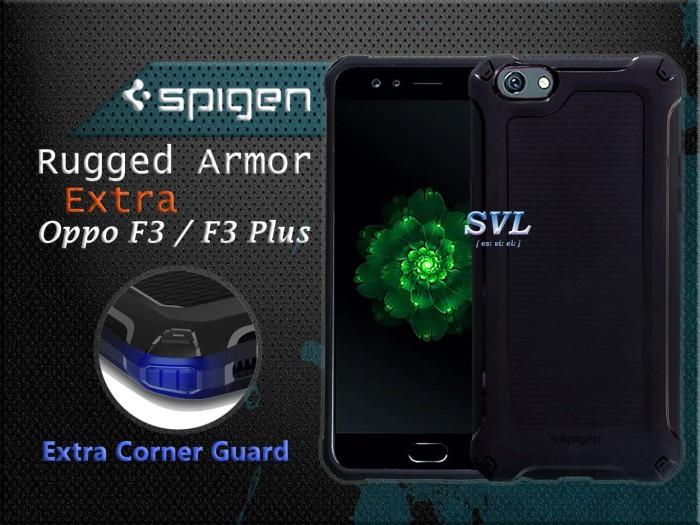 Spigen Case Oppo F3 Plus - Spigen Rugged Armor Extra Black Casing - Hitam