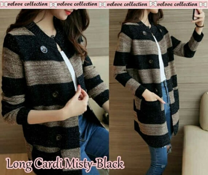 Foto Produk Long cardi misty Black [Outwear 0153] RCT dari Super Model
