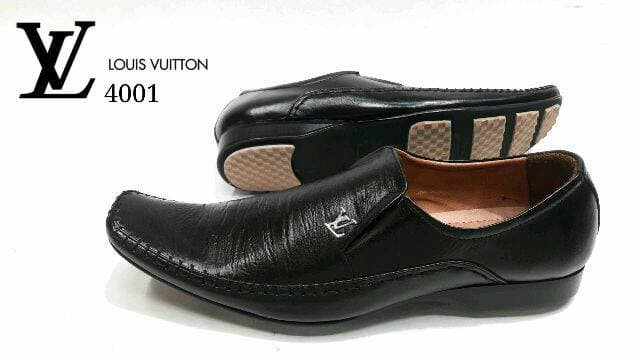 Sepatu Pantofel LV 4001 KulitAsli Sepatu Kerja Kantor Pantopel Pria -  Hitam a60969595b