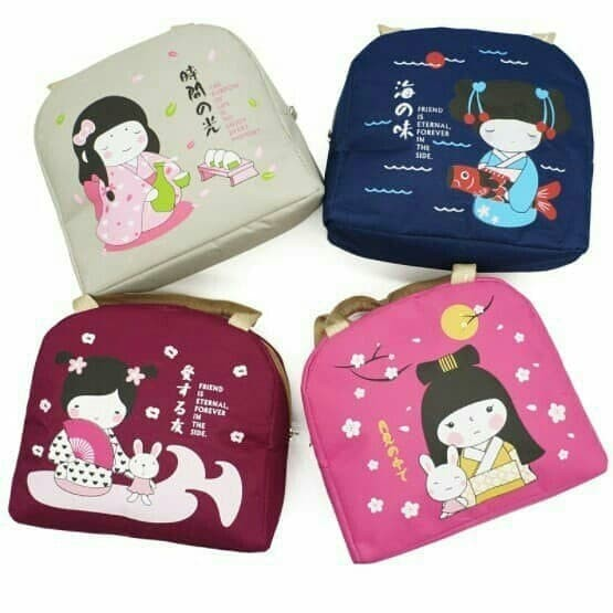 japan girl Lunch bag / Cooler bag / Tas Makanan Tas Bekal Tas asi - Navy