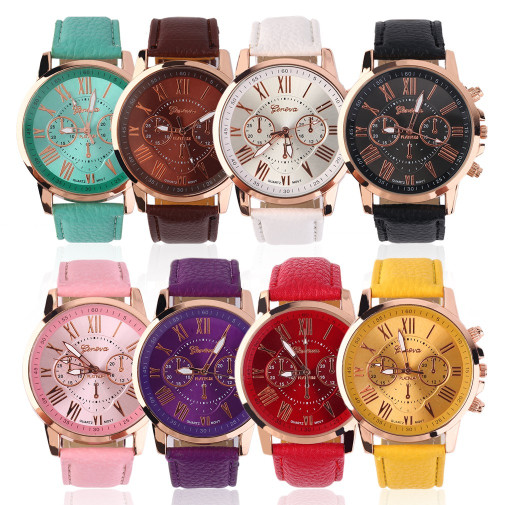 Jam tangan wanita geneva korea strap leather