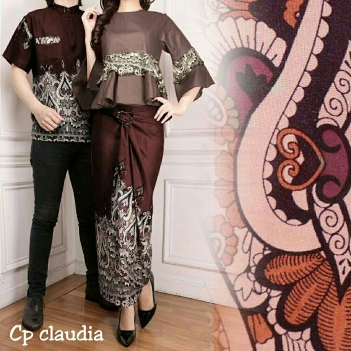 2 warna Claudia Baju Couple muslim baju batik couple baju pesta couple 1