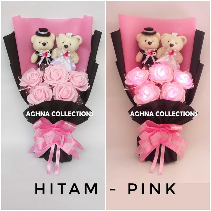 harga Buket mawar menyala boneka teddy bear couple ultah anniversary wedding Tokopedia.com