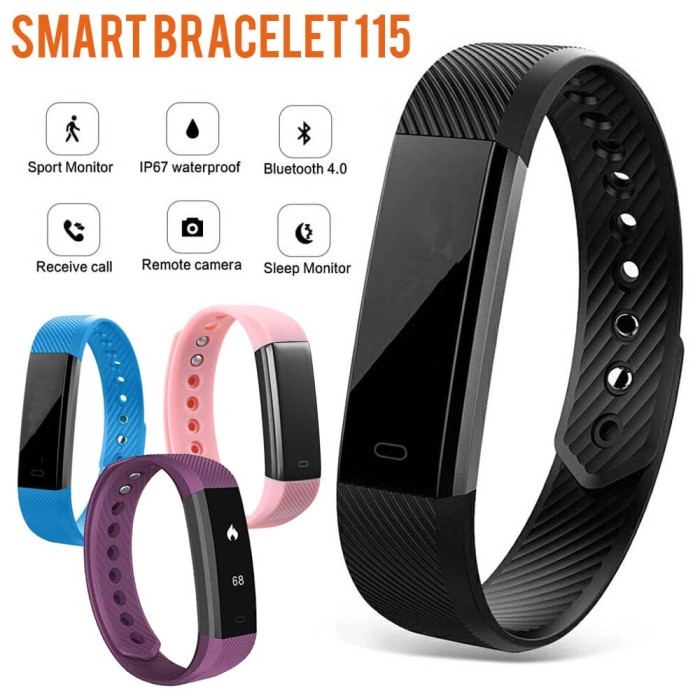 harga Smart bracelet 115 pedometer & sleep monitor - ungu Tokopedia.com