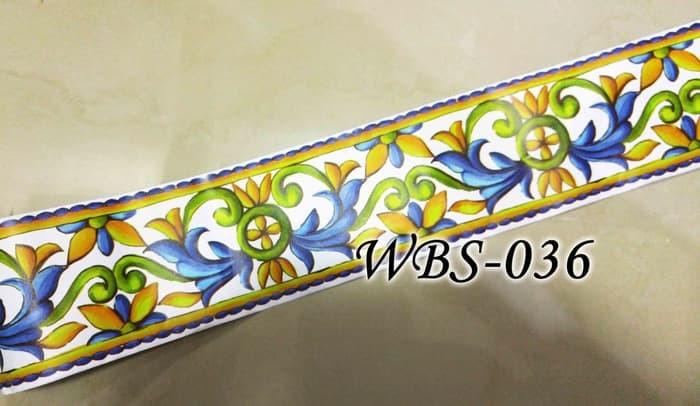 jual wall border sticker kaca dan dinding wbs036 white n green motif