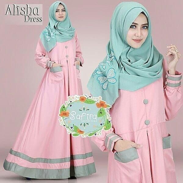 Jual Alisha Dress Gamis Panjang Hijab Casual Pakaian Wanita Terbaru