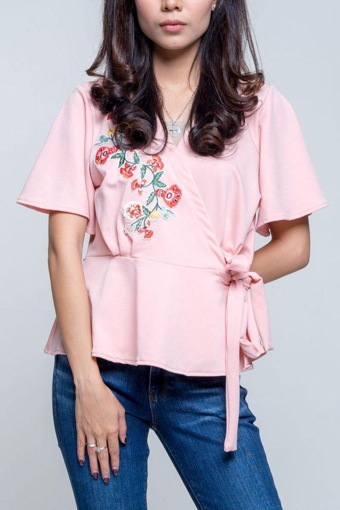 harga Baju atasan blouse tunik pink flower v neck (l) import original Tokopedia.com