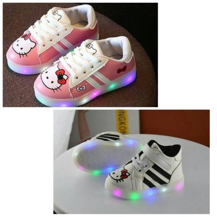 harga Sepatu anak perempuan import hello kitty led white Tokopedia.com