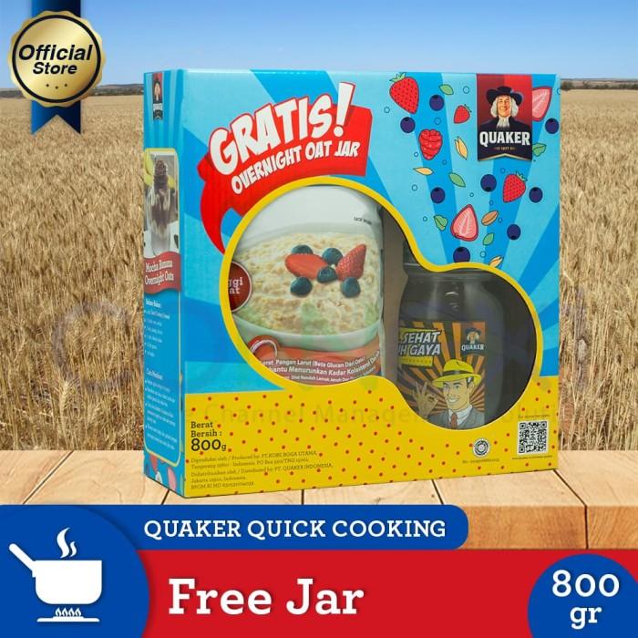 harga [free jar] quaker quick cooking oatmeal festive pack 800g Tokopedia.com