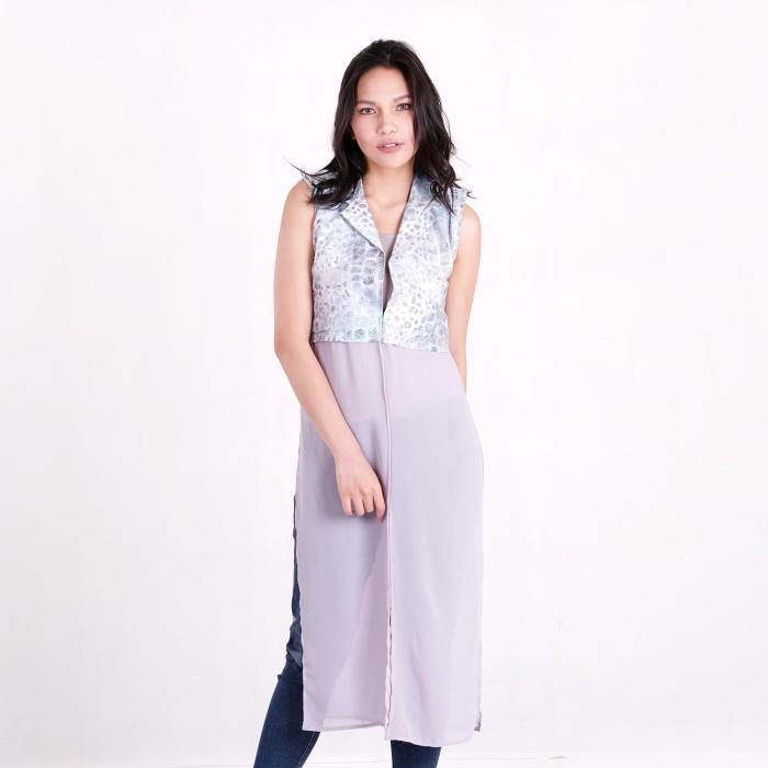 harga Batik pria tampan - long vest kombinasi sifon pewter alligator stripe - pewter xl Tokopedia.com