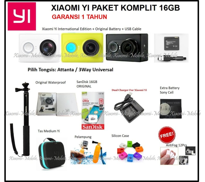 Xiaomi Yi Action Camera International Version Paket Komplit 16GB