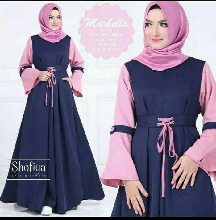 Jual Dress Wanita Marbella Baju Gamis Muslim Kebaya Party Kekinian Biru Muda Kota Bandung Rafiera Tokopedia