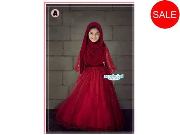 harga Senshukei 17a baju dress anak besar lebaran merah sari india hijab imp Tokopedia.com