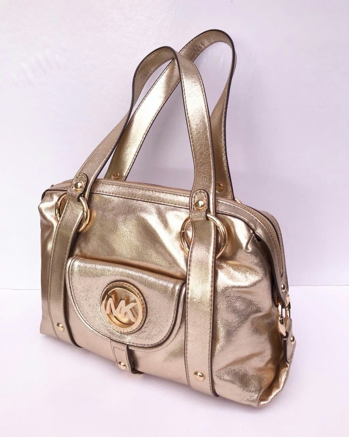93e31f53eb02 MK Fulton large satchel pale gold 33x26x12cm.. Michael Kors Original