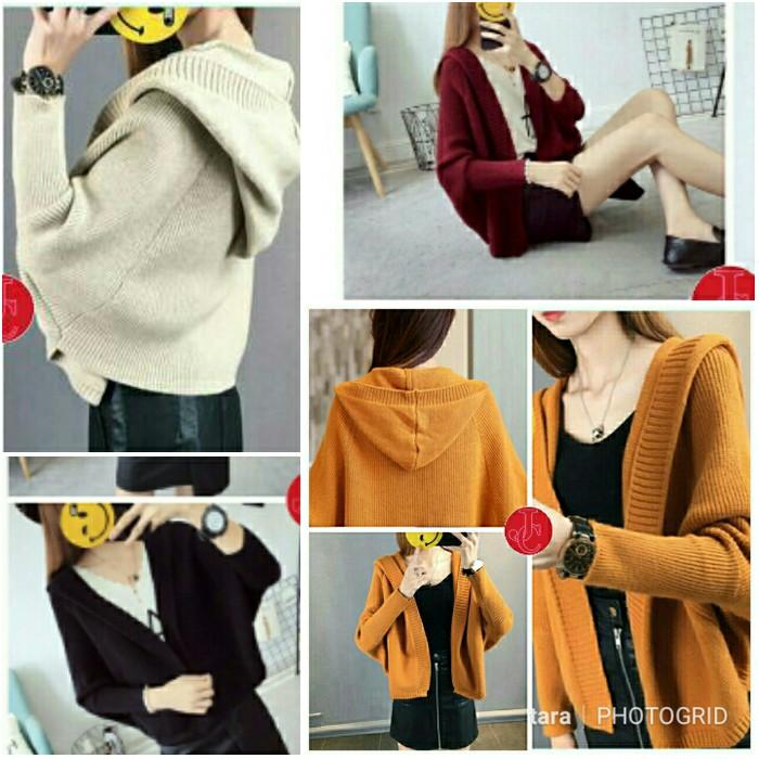 harga Cardi rajut hoodie baju wanita cardy cardigan sweater knit batwing xxl Tokopedia.com