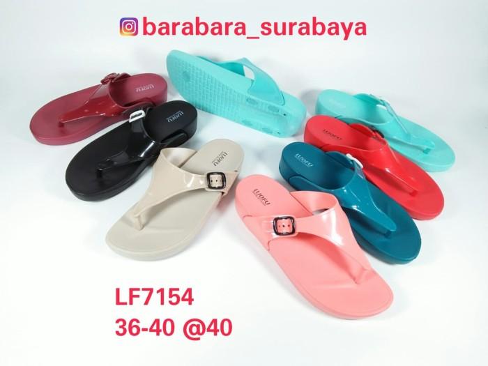 harga Lf7154 t:4cm luofu sandal jepit wanita cewek karet polos tali gesper Tokopedia.com