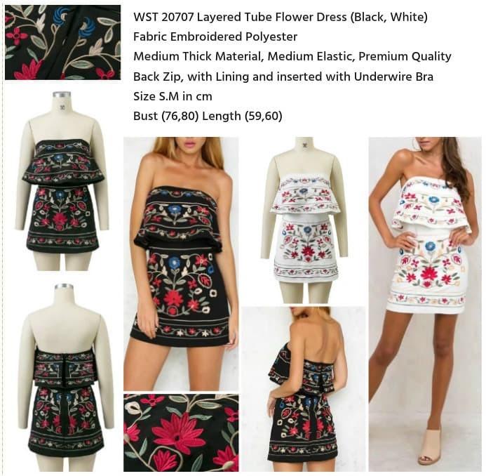WST 20707 - Layered Tube Flower Dress Dress