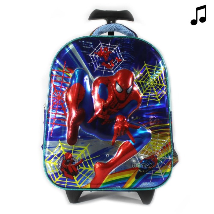 Tas Troli Anak Sekolah TK PG Spiderman 7D 2 Kantong Biru Lampu Music