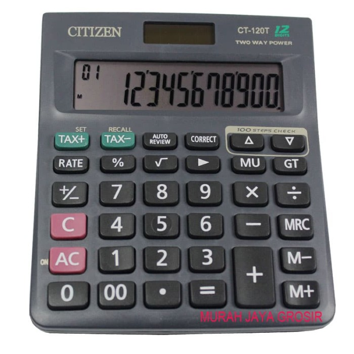 harga Citizen ct-120t kalkulator penghitung 12 digit chek and corect 2 power Tokopedia.com