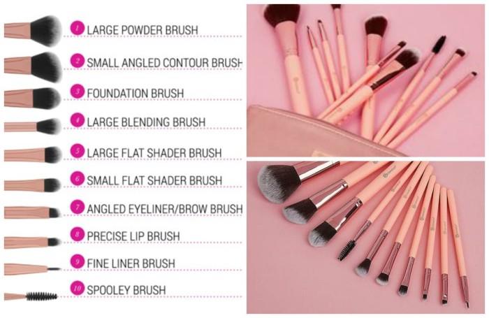 0af1745debb71 Jual BH Cosmetics Pretty in Pink 10 pc Brush Set in Cosmetic Bag ...