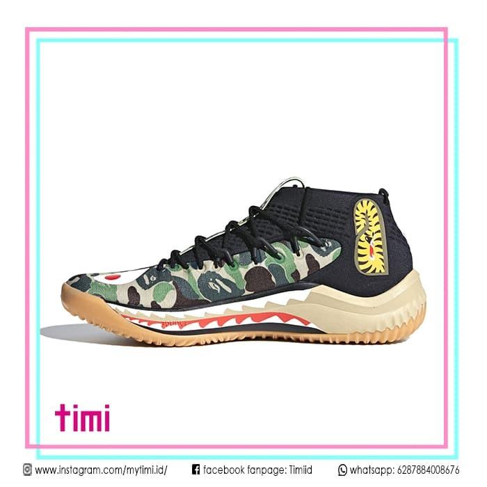 online store 4cedf ffb78 Sepatu Sneaker BAPE x Adidas Dame 4 A Bathing Ape Camo Green Original -  Hijau Tua, 42